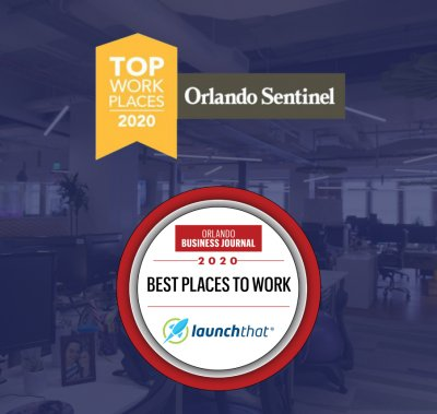 Best Place to Work Badges from Orlando Sentinel and Orlando Business Journal