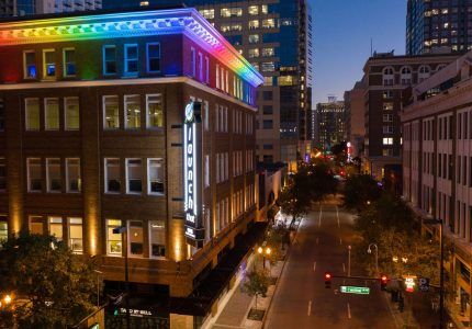 Launch That Building at Night with Rainbow Lights