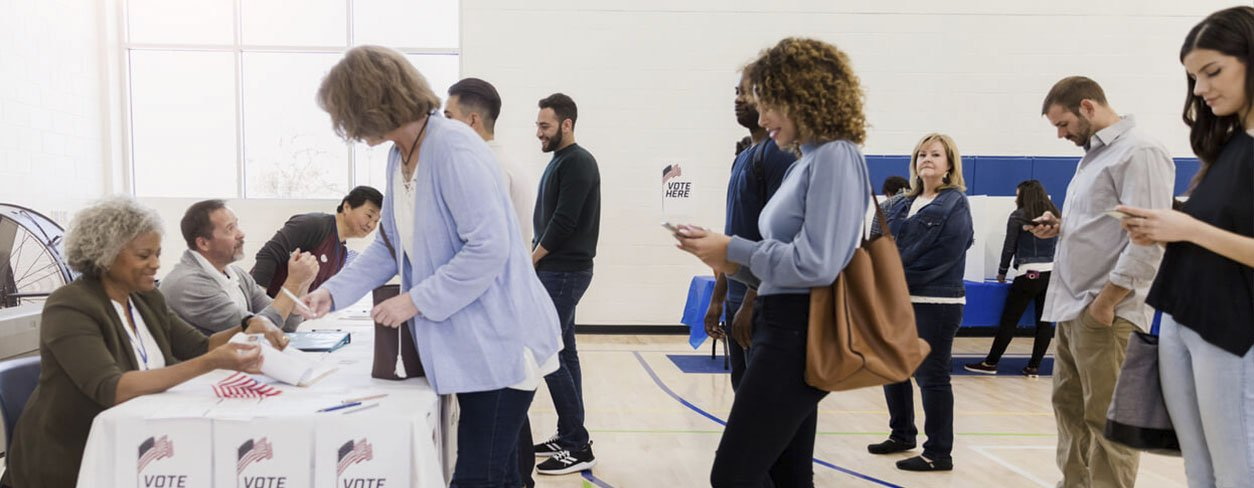 Citizens standing in line to vote on election day