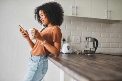 Woman looking at social media on phone