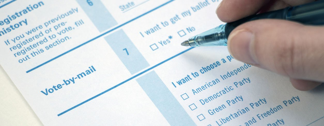 Voter selecting the vote by mail option